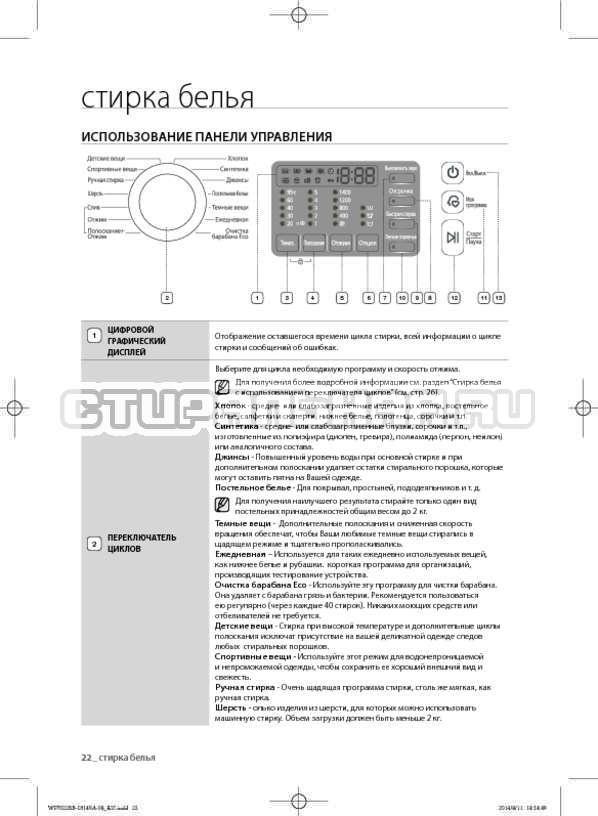 Инструкция Samsung WF602B2BKWQ страница №22