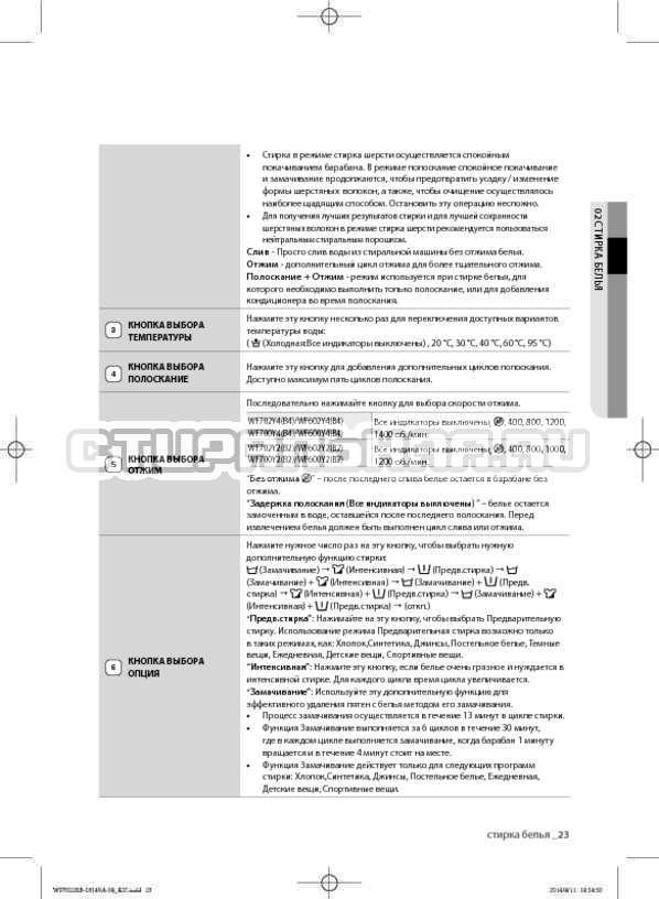 Инструкция Samsung WF602B2BKWQ страница №23