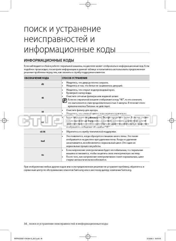 Инструкция Samsung WF602U0BCSD страница №36