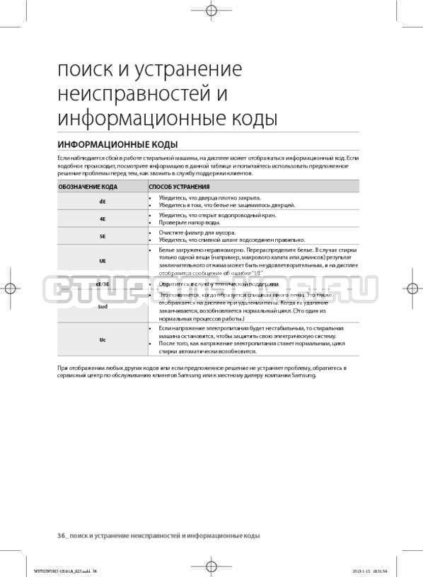 Инструкция Samsung WF602W0BCSD страница №36