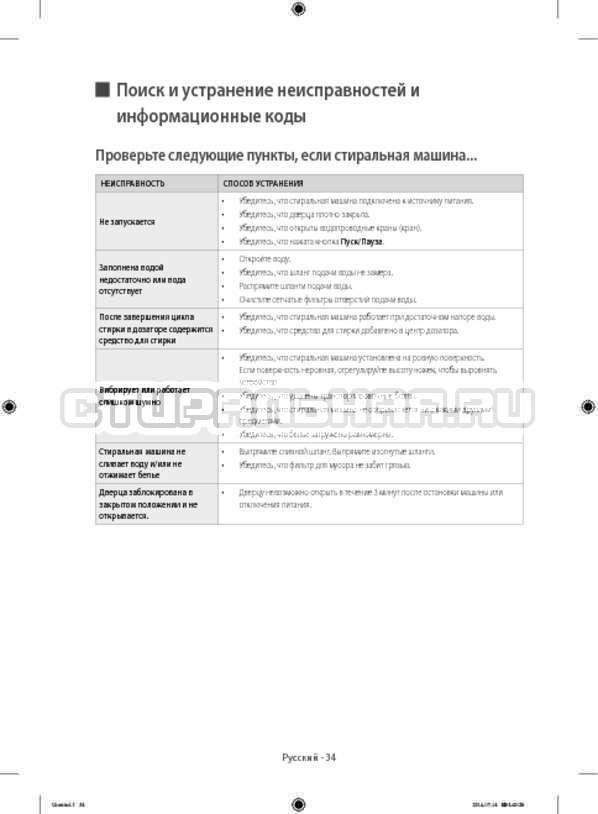 Инструкция Samsung WF60F4E0W2W/LP страница №34