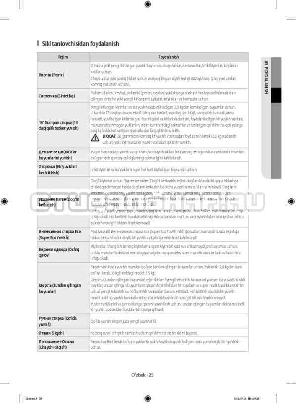 Инструкция Samsung WF60F4ECW2W страница №153