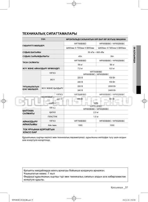 Инструкция Samsung WF700B0BDWQ страница №117