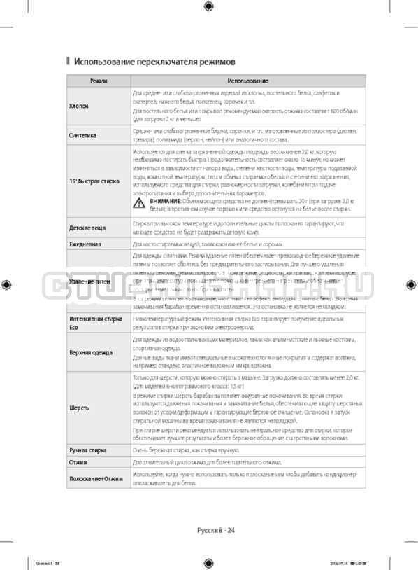Инструкция Samsung WF80F5E2W4W/LP страница №24