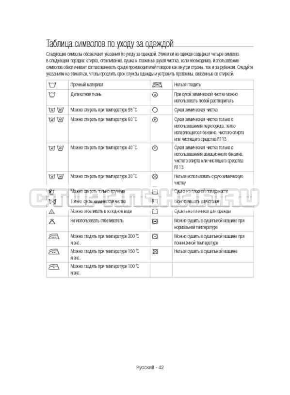 Инструкция Samsung WW12H8400EW/LP страница №42