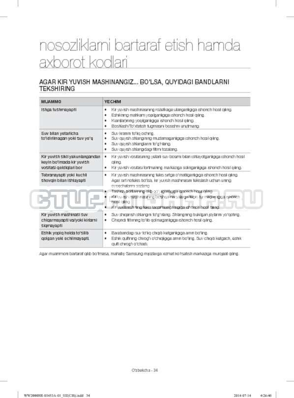 Инструкция Samsung WW60H2200EWDLP страница №154