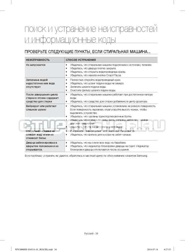 Инструкция Samsung WW60H2210EWDLP страница №34