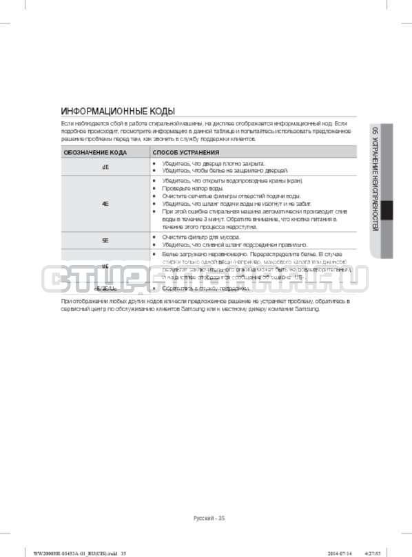 Инструкция Samsung WW60H2210EWDLP страница №35
