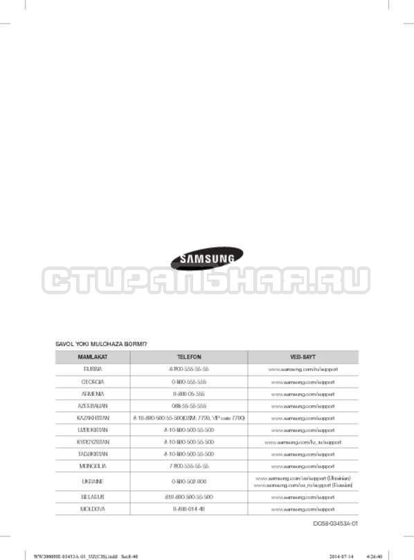 Инструкция Samsung WW60H2220EWDLP страница №160