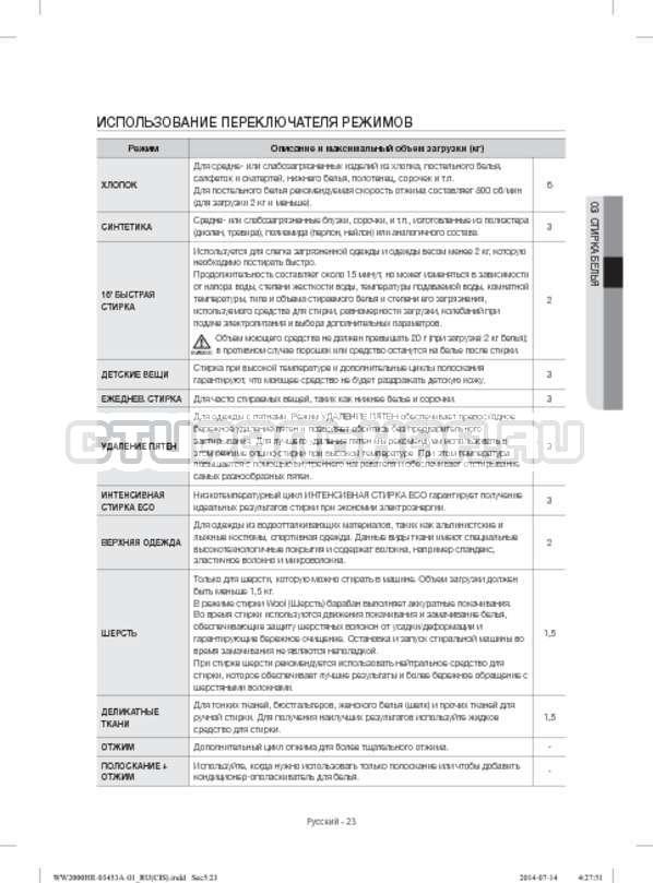 Инструкция Samsung WW60H2220EWDLP страница №23