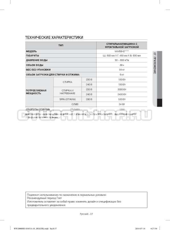 Инструкция Samsung WW60H2220EWDLP страница №37