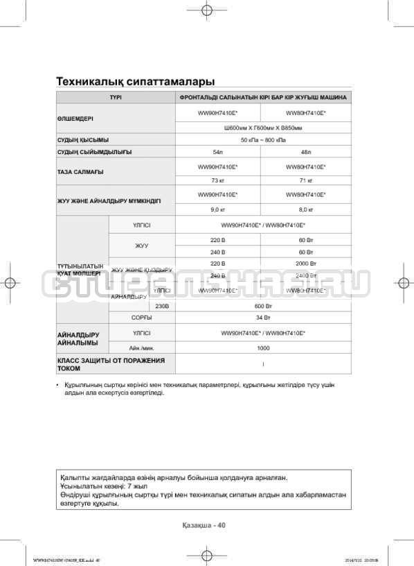 Инструкция Samsung WW80H7410EW страница №128